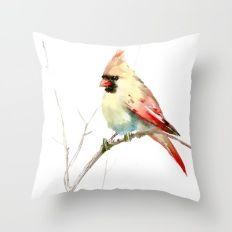 Northern Cardinal (female Cardinal bird) Throw Pillow