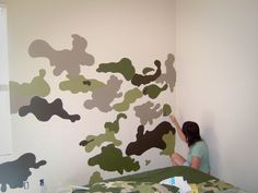 While my son was away at camp I pulled room swap completely transforming his room into a camouflage refuge. Check out my DO IT YOURSELF camouflage wall. Army Bedroom, Bedroom Wall, Kids Bedroom, Bedroom Decor, Bedroom Ideas, Lego Bedroom, Boys Army Room, Boy Room, Camouflage Room