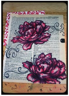 Gwen stamped on a vintage dictionary page and then colored with Pan Pastels.