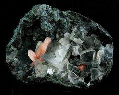 2.6 Epistilbite (Hydrated Calcium Aluminum Silicate) - Epistilbite with Calcite on Green Chalcedony; India