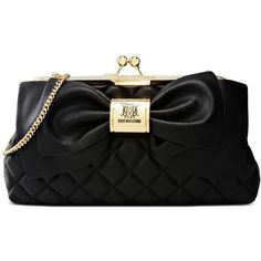 Love Moschino Clutches ($113) ❤ liked on Polyvore featuring bags, handbags, clutches, black, quilted handbags, quilted purses, bow purse, love moschino purse and bow handbags