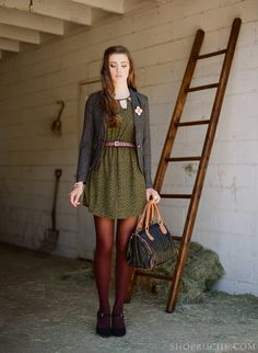 Take your summer dress and transform it into fall with cranberry tights, a warm blazer and Mary Jane heels. #equestrian #shopruche #ruche