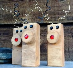 Zany Reindeer Duo Ornaments  Christmas by PineBranchDesigns, $12.00