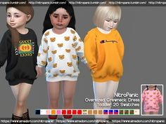 Promoted oversized crewneck dress toddlers the sims 4 Toddler Cc Sims 4, Sims 4 Toddler Clothes, Sims 4 Mods Clothes, Sims 4 Cc Kids Clothing, Toddler Outfits, Kids Outfits, Toddler Boys, Children Clothing, The Sims 4 Pc