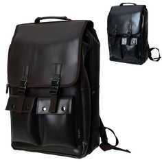 6899b8e72f590 Mens Laptop Backpacks Faux Leather School Bag Hiking Rucksack Black Brown  CB-297