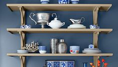 Trio of wall shelves supported by corbels - lowes #buffet #shelves #diy