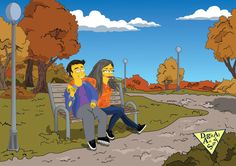 Simpsons portrait custom New Year family portrait from your