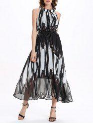 Fashionable Stand Collar Sleeveless Printed Chiffon Women's Dress