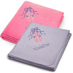 Embroidered Ballet Slippers on Fleece Blankets , Add a Monogram, Name or Initials