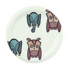 Elephant and Owl Paper Plate
