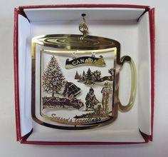 CANADA Brass Christmas ORNAMENT Seasons Greetings Coffee Mug Souvenir Gift