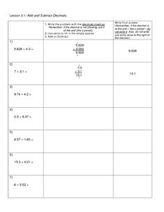 This is a worksheet that breaks down the steps for adding and subtracting decimals with examples and explanation. Good for a maths journal/notebook