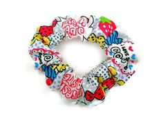 80s Hair Scrunchie Pop Dots Candy Sweets Creepy by blacktulipshop