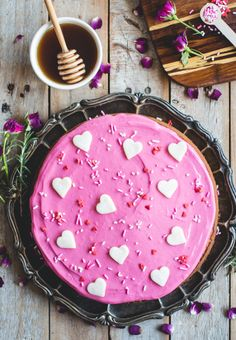 Rosemary & Honey Cake with Beet-Dyed Cream Cheese Icing // butterlustblog.com