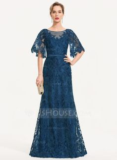 JJsHouse Sheath/Column Scoop Neck Floor-Length Zipper Up Sleeves Sleeves No Ink Blue General Plus Lace Evening Dress. Chiffon Evening Dresses, Evening Gowns, Batik Dress, Lace Dress, Tulle Lace, Filipiniana Dress, Mother Of Groom Dresses, Sweet Dress, Special Occasion Dresses