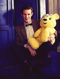 Matt Smith with a tepddy bear. I should think this is weird, but I feel like hew my random/weird best friend that would do something like this all the time.