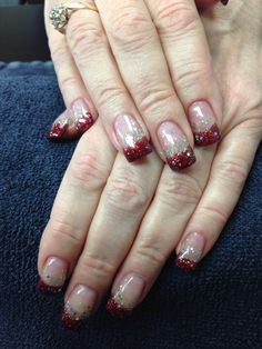 Tina's nails. Ruby red and sparkles. Gel nail art.