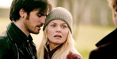 Pressing into her, knowing he's going to lose her. Colin O'Donoghue -Killian Jones - Captain Hook - Jennifer Morrison - Emma Swan on Once Upon A Time 5x20
