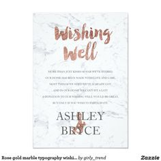 Rose gold marble typography wishing well wedding 9 cm x 13 cm invitation card