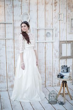 Alex Wedding Gown with Cropped Lace Jacket