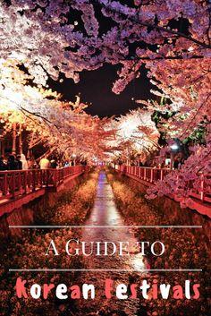 A guide to South Korean festivals including the Jinju Lantern Festival, Jinhae Cherry Blossom Festival, and Boryeong Mud Festival.