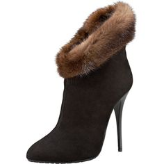 Giuseppe Zanotti Mink-Cuff Suede Bootie ($535) ❤ liked on Polyvore featuring shoes, boots, ankle booties, fur, brown suede ankle booties, suede bootie, brown ankle booties, high heel ankle boots ve high heel boots