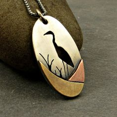 Pendant Necklace Mixed Metal Heron by adorned7 on Etsy on Etsy
