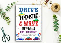 Editable Drive By Birthday Parade Invitation, Virtual Party Invite, Honk Wave Car, Girl Birthday Party, Instant Download Digital, YOU PRINT 10th Birthday, Girl Birthday, Birthday Parties, Party Printables, Party Invitations, Printed, Cards, Etsy, Products