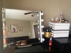 DIY vanity mirror with lights DIY Vanity Mirror Lights   Easy   Cheap way to brighten your desk  . Lighted Vanity Mirror Diy. Home Design Ideas