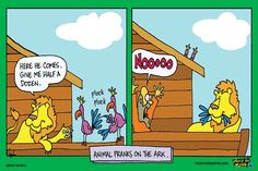 Funny Christian Cartoon Poster. Comics with a biblical theme. Christian humor. This is a favorite Christian cartoon, showing animals on the Ark fooling Noach. Click poster to order for only $ 9.00