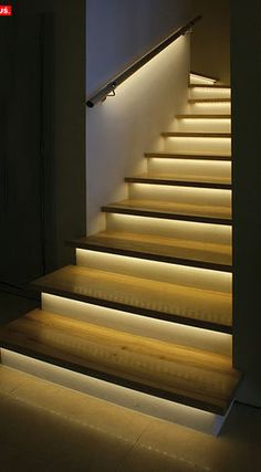LED accent lights on the stairway would make the nighttime navigation safer.. plus it's pretty!