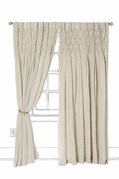 I like the diamond pleat detailing on these curtains. Love the oyster-cream colour. Also, wool/linen blends are long wearing...although they will get me stoned by Christian literalists...
