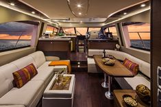 Sea Ray 510 Fly: The main salon offers opposing seating with beautiful views. The wood decking is optional but we sure wouldn't want our 510 Fly to be without it. Sport Yacht, Yacht Boat, Pontoon Boat, Luxury Yacht Interior, Luxury Yachts, House Yacht, Boat House, Lowe Boats, Barge Boat