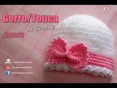 Gorro Touca de Crochê Amora - Tamanho RN - passo a passo - YouTube