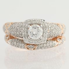 Engagement Ring and Wedding Band DIamond  14k by WilsonBrothers