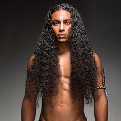Men with very long hair. Men's hair.