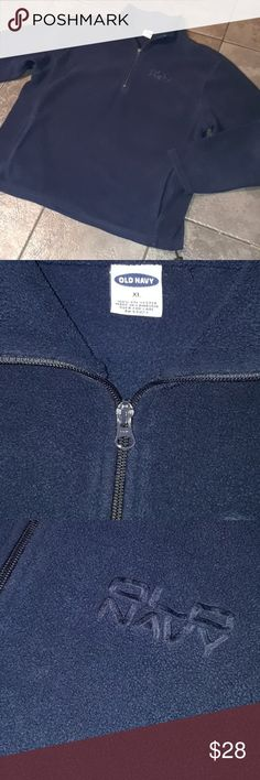 Men's XL Fleece Pullover OLD NAVY Blue Zipper nice Smoke Free and clean home!  Bundle up to 5lbs to get the most from your buck and save on shipping!  Men's size XL old navy pull over fleece. Zipper on chest/neck. 2 lower front side pockets.  Functional drawstring along entire bottom. Gently worn. Great condition.  Shows minimal wear. No holes, no rips, no pulls etc.  Made in Cambodia 100% Polyester   Tags: Men's cargo and sport pants BDU Adidas winter warm Nautica Calvin Klein sweater shirt…
