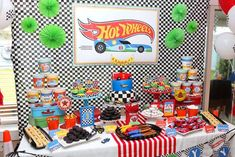 Hot Wheels Party Table from a Hot Wheels Car Birthday Party on Kara's Party Ideas   KarasPartyIdeas.com (5)