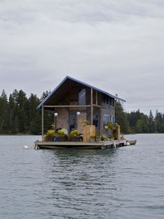 hand-built floating cabin