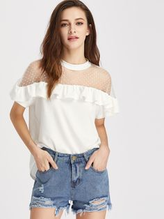 Dobby Mesh Shoulder T-Shirts Tee Women White Frill Trim Cute Elegant Summer Tops Semi Sheer Sexy Ruffle T-Shirt Dress Outfits, Cool Outfits, Summer Outfits, Casual Outfits, Little Girl Dresses, Girls Dresses, Diy Fashion Projects, Topshop Outfit, Hijab Fashion