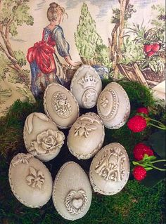 vintage inspired eggs with molded embellishments