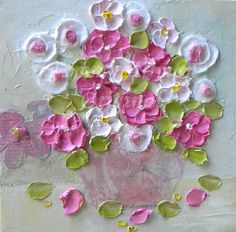 Oil Painting impasto canvas painting Pretty by KenziesCottage, $46.50