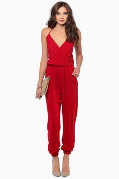 Jumpsuits+suelto+cuello+pico+correa+de+espagueti-rojo+EUR€27.73