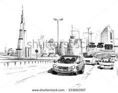 Pencil sketch of a skyline of modern buildings in Dubai, UAE