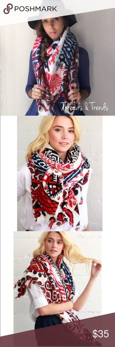 "Red & Navy Tribal Blanket Scarf TRIBAL PATTERN BORDER PRINT FRAYED OVERSIZED SQUARE SCARF/BLANKET SCARF 100% ACRYLIC 55"" X 55"" Accessories Scarves & Wraps"
