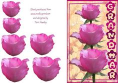 nan on Craftsuprint - Add To Basket! Say I Love You, Pink Roses, Decoupage, Card Making, Greeting Cards, Basket, Make It Yourself, Floral, 3d