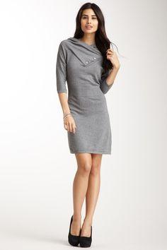 THML  Sleeveless Ponte Dress with Belt