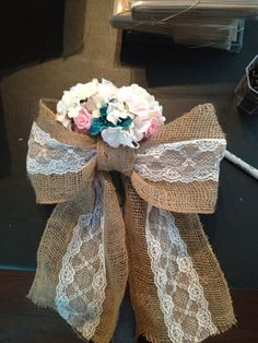 Burlap and Lace Pew Bows via Etsy