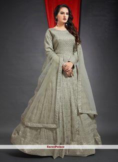 Viscose Swarovski Grey Floor Length Gown Vivek Singh, Lehenga Choli, Saree, Patiala Suit, Floor Length Gown, Grey Flooring, Gowns Online, Fabric Shop, Designer Gowns