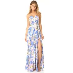 Yumi Kim Mischief Maxi Dress (14,505 PHP) ❤ liked on Polyvore featuring dresses, gowns, bora bora peri, white maxi dress, maxi dress, white slip, strapless slip and long evening gowns